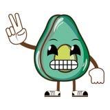 Kawaii humoristisk läcker avokadofrukt vektor illustrationer