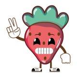 Kawaii humoristisk läcker jordgubbefrukt stock illustrationer