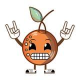 Kawaii humoristisk läcker orange frukt royaltyfri illustrationer
