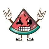 Kawaii humoristisk läcker vattenmelonfrukt stock illustrationer