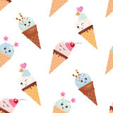 Kawaii ice cream cone seamless pattern background. Pastel colors. Isolated on white. Royalty Free Stock Image