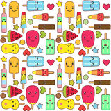 Kawaii ice cream pattern Stock Photo