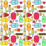 Kawaii ice cream pattern Stock Photo