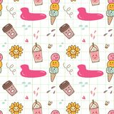 Kawaii ice cream seamless pattern. Can be use as background, fabric motif, and other creative purposes royalty free illustration