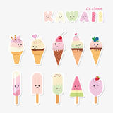 Kawaii ice cream set. Sweets  on white. Royalty Free Stock Images
