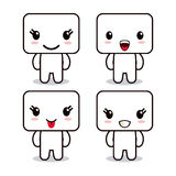 Kawaii icon. Cube Cartoon design. Vector graphic Stock Images