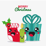 Kawaii icon set. Merry Christmas design. Vector graphic Stock Photography