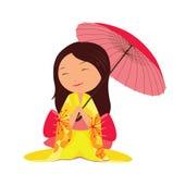 Kawaii japanese girl with red umbrella Stock Photography