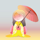 Kawaii japanese girl with umbrella Stock Image