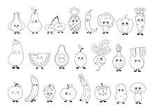 Kawaii jedzenia kolekcja ilustracji