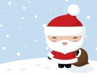 Kawaii jultomten i snön stock illustrationer