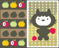 Kawaii katt med äpplemodellen. Arkivbild