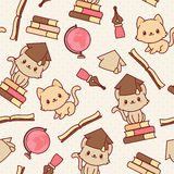 Kawaii kittens seamless wallpaper. Vector pattern. Education themed Stock Image