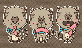 3 kawaii kittens. Vector illustration of 3 happy cartoon cats with sausages Royalty Free Stock Images