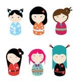Kawaii kokeshiuppsättning stock illustrationer