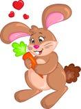 Kawaii królika królik trzyma marchewki dla dziecko książki, Wielkanocnej karty walentynki dnia karta ilustracji