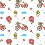 Kawaii kwiat i rowerowy bezszwowy wzór royalty ilustracja