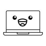 Kawaii laptop cartoon Stock Image