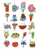 kawaii Lebensmittelsatz Fastfoodkarikaturillustrationen vektor abbildung