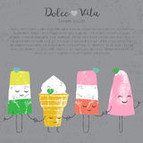 Kawaii lindo determinado dibujado mano del helado del vector Imagen de archivo