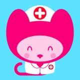 Kawaii little pink girl cat nurse doctor Stock Photos