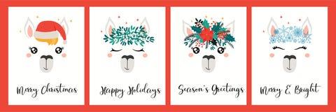 Free Kawaii Llama Faces Christmas Cards Set Stock Images - 163880354