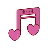 Kawaii love note musical valentine Stock Photography