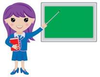 Kawaii-Mädchen-Lehrer mit Buch, Zeiger und Tafel Stockfotografie