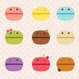 Kawaii macarons icons set Stock Photos