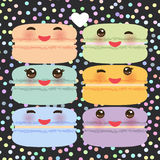 Kawaii macaroon funny orange blue lilac pink green cookie with pink cheeks with pink cheeks and big eyes, pastel colors on black p. Olka dot background. Vector Royalty Free Stock Photography