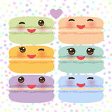 Kawaii macaroon funny orange blue lilac pink green cookie with pink cheeks with pink cheeks and big eyes, pastel colors on white p. Olka dot background Vector Royalty Free Stock Images