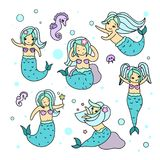 Kawaii mermaid characters set isolated on white background. Cute vector illustration