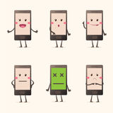 Kawaii mobile phone emotions set Stock Photo
