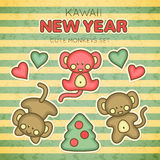 Kawaii New Year Monkey set vector illustration
