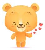 Kawaii niedźwiedź daje sercu Zdjęcia Royalty Free
