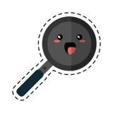 Kawaii pan cooking funny icon cut line Stock Photo