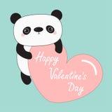 Kawaii panda baby bear. Happy Valentines Day. Cute cartoon character holding big pink heart.  Royalty Free Stock Image