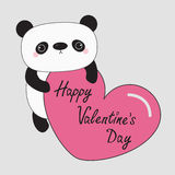 Kawaii panda baby bear. Happy Valentines Day. Cute cartoon character holding big pink heart.. Wild animal collection for kids. Gray background. Love card. Flat Stock Photo