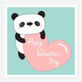 Kawaii panda baby bear. Happy Valentines Day Royalty Free Stock Photo