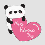 Kawaii panda baby bear. Happy Valentines Day text. Cute cartoon character holding big pink heart. Wild animal collection for kids. Gray background. Love card Stock Photo