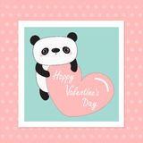 Kawaii panda baby bear. Happy Valentines Day. White frame. Cute cartoon character holding big pink heart. Wild animal collection f Stock Image