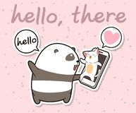 Kawaii Panda Is Talking With Cat Via Face Time Of Smart Phone Stock Photography