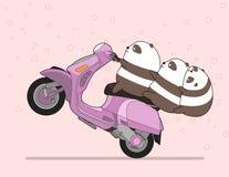 Kawaii 3 pandas is riding motorcycle stock illustration
