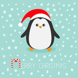 Kawaii Penguin wearing Santa red hat. Cute cartoon character.  Stock Photos