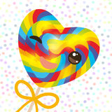 Kawaii with pink cheeks winking eyes, Valentine`s Day Heart shaped candy lollipop with bow, bright rainbow stripes, colorful spira Royalty Free Stock Images