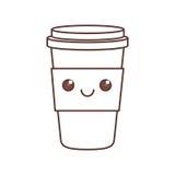 kawaii plastic cup coffee beverage portable cap Royalty Free Stock Photos