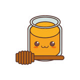 kawaii pot honey wooden dipper sweet Royalty Free Stock Image