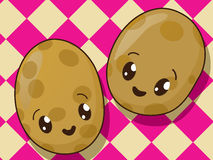 Kawaii  potato icons Royalty Free Stock Photo