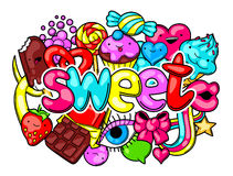 Free Kawaii Print With Sweets And Candies. Crazy Sweet-stuff In Cartoon Style Stock Image - 79735691