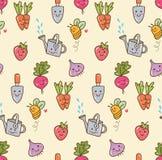 Kawaii que jardina com fundo sem emenda das frutas e legumes ilustração do vetor